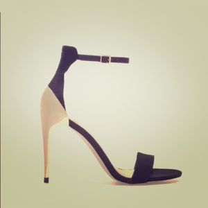 Zara Black Minimalist Ankle Strap with Gold Heels